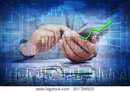 Investor man hands with calculator