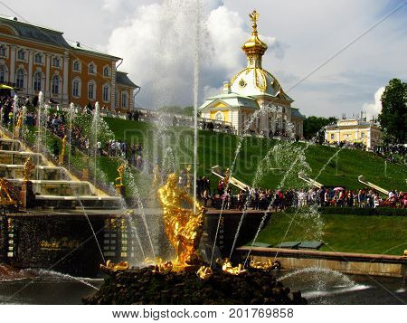 Russia, Peterhof, 11.06.2017, the fountain The Grand Cascade in Peterhof, in the photo the main Samson fountain