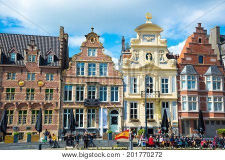 Row Of Historic Buildings In Ghent, Belgium