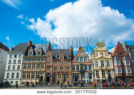 Ghent, Belgium - April 16, 2017: Row of beutiful historic buildings in Ghent, Belgium