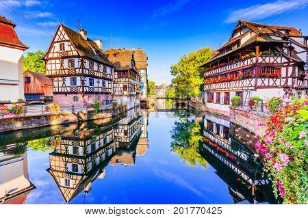 Strasbourg Alsace France. Traditional half timbered houses of Petite France.