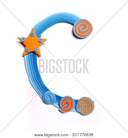 Plasticine letter C. Color plasticine alphabet, isolated. Blue and orange color of the alphabet