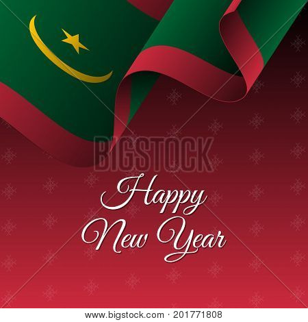 Happy New Year banner. Mauritania waving flag. Snowflakes background. Waving flag. Vector illustration.