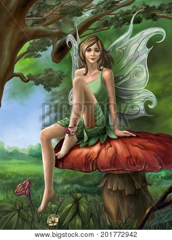 Forest faery resting on a mushroom. Digital illustration created by me.