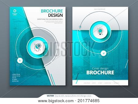 Cover set. Teal template for brochure, banner, plackard, poster, report, catalog, magazine, flyer etc. Modern circle shape abstract background. Creative brochure vector concept
