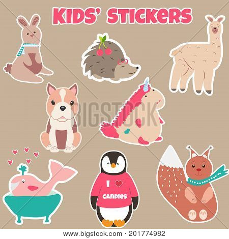 Collection of cute kids stickers with different animals