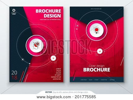 Cover set. Magenta template for brochure, banner, plackard, poster, report, catalog, magazine, flyer etc. Modern circle shape abstract background. Creative brochure vector concept