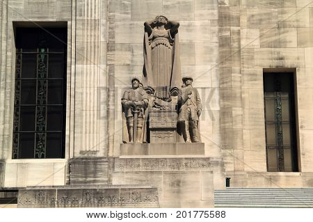 BATON ROUGE, LA - FEBRUARY 26: Elaborate sculptures at the case of the state capitol building represent important themes in Louisiana history February 26, 2017 in Baton Rouge, LA.