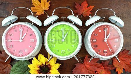 Autumn Fall Daylight Saving Time Clocks
