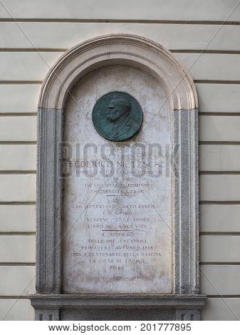 Nietzsche Memorial Plaque In Turin