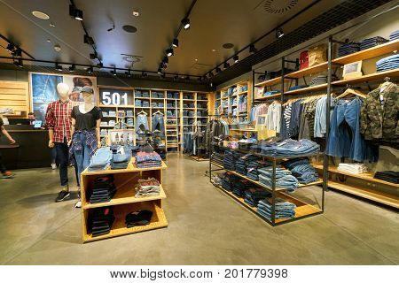 SAINT PETERSBURG, RUSSIA - CIRCA AUGUST, 2017: inside Levi's store at Galeria shopping center.