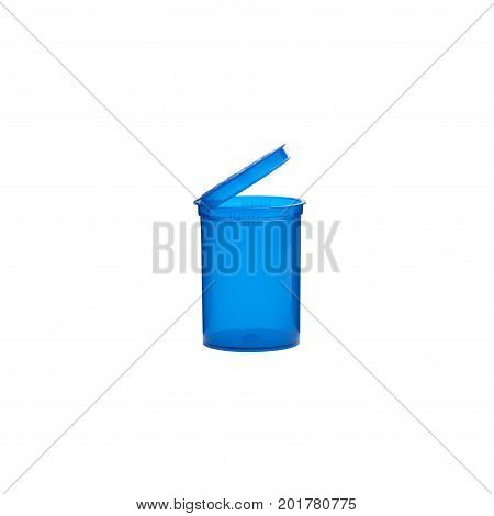 Prescription medication container in opaque blue over a pure r255 g255 b255 white background.