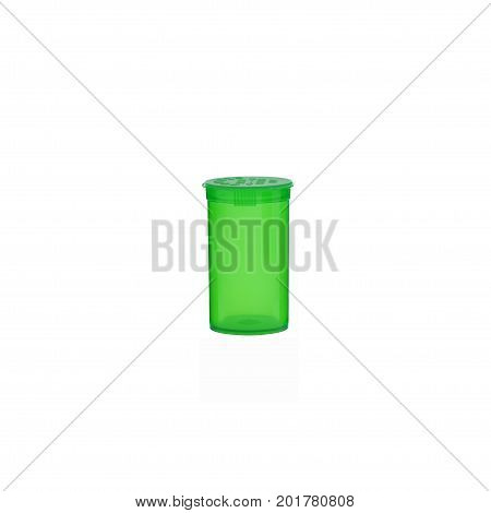 Prescription medication container in opaque lime green over a pure r255 g255 b255 white background.