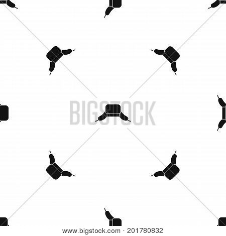Hat with ear flaps pattern repeat seamless in black color for any design. Vector geometric illustration