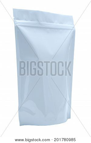 White pharmaceutical transport envelope made of plastic and photographed over a pure white r255 g255 b255 background.