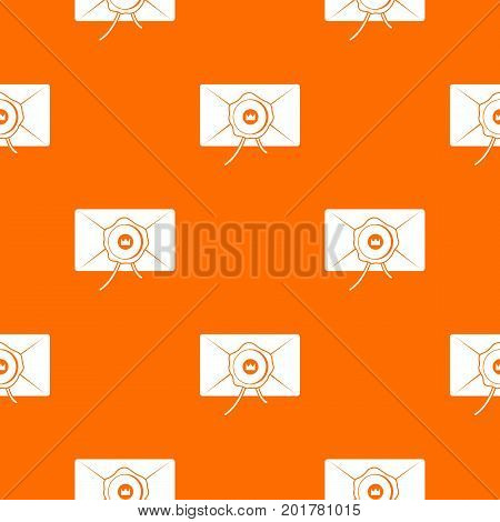 Envelope with wax seal pattern repeat seamless in orange color for any design. Vector geometric illustration