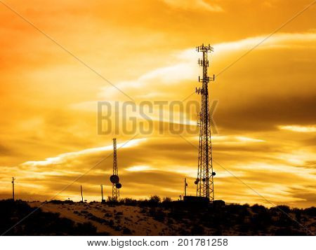 Radio towers for signals radios cell phones and television tv