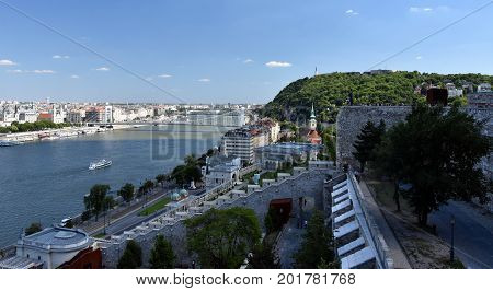 City of Budapest (Varkert Bazar Elizabeth Bridge Gellert Hill) - View from Fisherman's Bastion looking southeast along the Danube River Budapest Hungary.