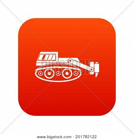 Excavator with hydraulic hammer icon digital red for any design isolated on white vector illustration