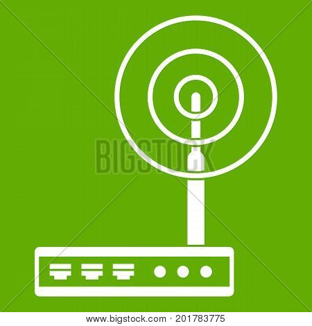 Wifi router icon white isolated on green background. Vector illustration
