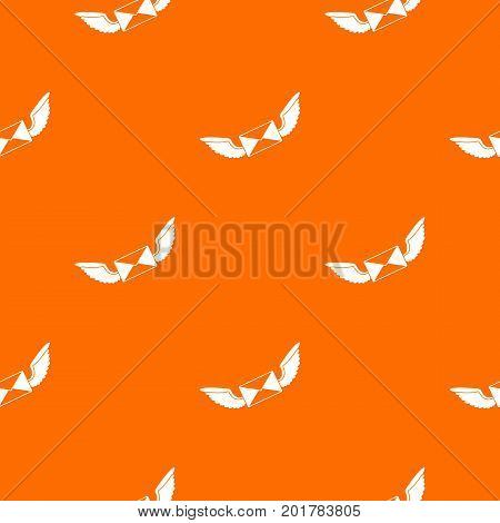 Love letter pattern repeat seamless in orange color for any design. Vector geometric illustration