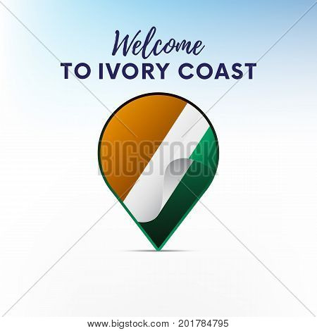 Flag of Ivory Coast in shape of map pointer or marker. Welcome to Ivory Coast. Vector illustration.
