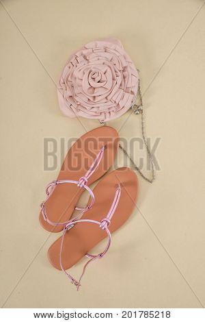 Stylish women shoe with handbag-khaki background