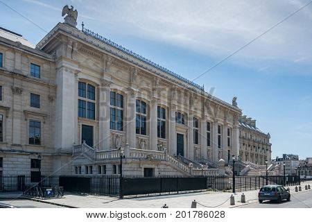 Paris France - August 13 2016: The Palais de Justice. This is the back of the building. The justice of the state has been dispensed at this site since medieval times.