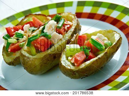 Southwestern Loaded Potato Skin Nachos.American kitchen close up healthy meal