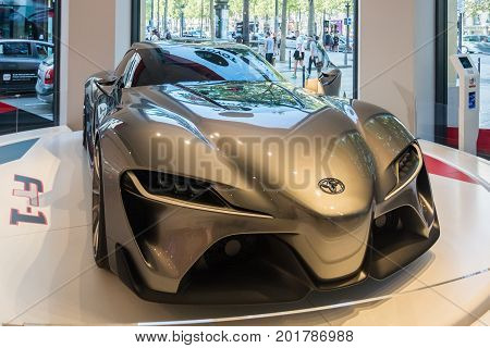 Paris France - August 13 2016: A protoype of the FT-1 by Toyota seen on the Champs-Elysees in Paris.
