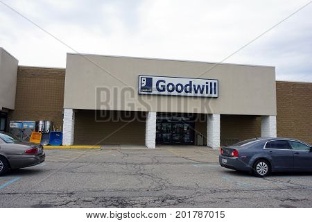 CADILLAC, MICHIGAN / UNITED STATES - JUNE 22, 2017: One may donate or buy used clothing and other merchandise at the Goodwill store, in the Village at Wexford shopping center.
