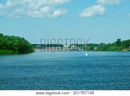 Veliky Novgorod. Novgorod Kremlin.  Russia tower, panorama