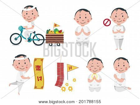 Vegetarian festival with boy character in white clothes, posting different manners , the symbolic flag meaning to refrain from meat consuming, all isolated on white background, illustration , vector.