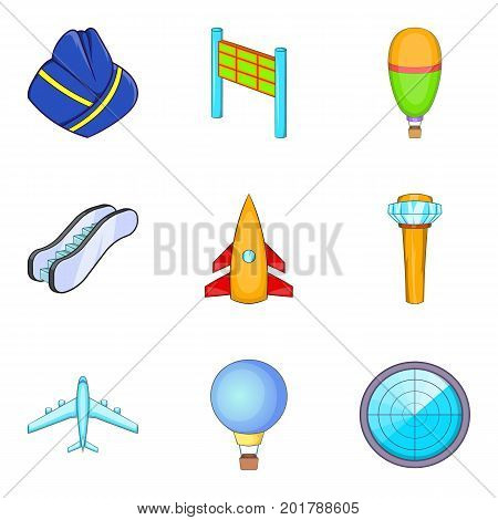 Locator icons set. Cartoon set of 9 locator vector icons for web isolated on white background