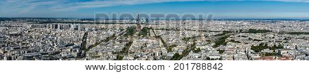 Skyline of Paris from the top of the Montparnasse tower. We can see the Eiffel Tower the Trocadero the Hotel national des Invalides ...