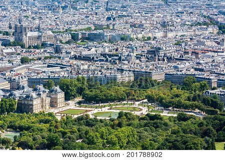 Skyline of Paris from the top of the Montparnasse tower. We can see the Cathedral of Notre-Dame de Paris the Luxembourg garden the Luxembourg Palace ...