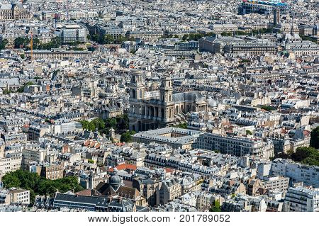Skyline of Paris from the top of the Montparnasse tower. We can see the Saint-Sulpice church and the Pompidou center.