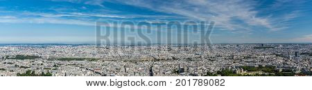 Skyline of Paris from the top of the Montparnasse tower. We can see the Tuileries garden the Madeleine church the Pompidou center the Luxembourg garden ...