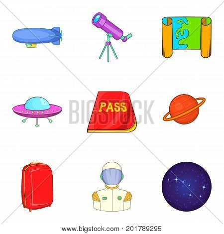 UFO icons set. Cartoon set of 9 ufo vector icons for web isolated on white background