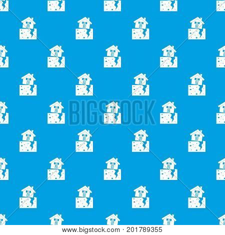 House after an earthquake pattern repeat seamless in blue color for any design. Vector geometric illustration