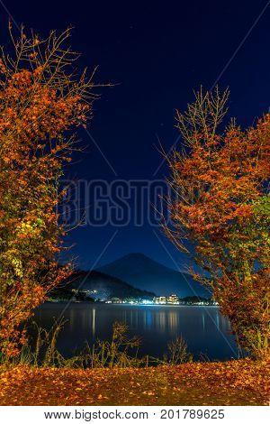 Mt. Fuji in autumn at Kawaguchiko or lake Kawaguchi in Fujikawaguchiko Japan Night