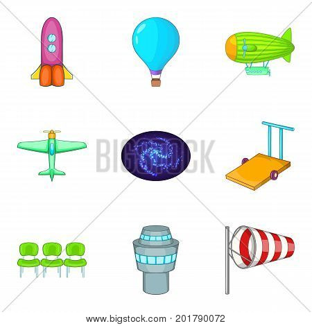 Aeronautical icons set. Cartoon set of 9 aeronautical vector icons for web isolated on white background