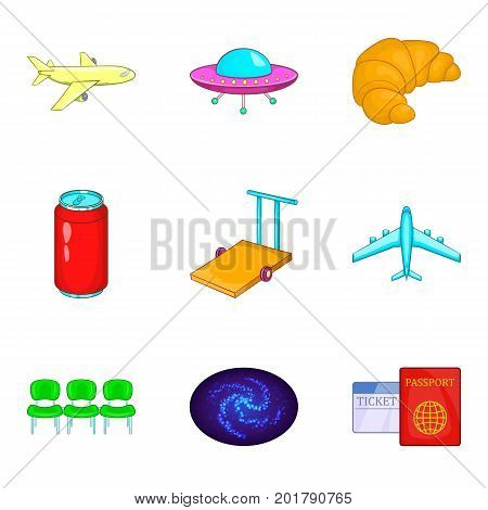 Pathway icons set. Cartoon set of 9 pathway vector icons for web isolated on white background