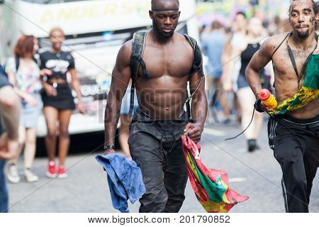 NOTTING HILL CARNIVAL, LONDON, UK - 27 Aug 2017: Unidentified people taking part at Notting Hill carnival, London, UK