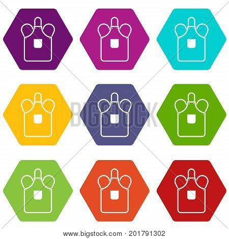Blacksmiths apron icon set many color hexahedron isolated on white vector illustration