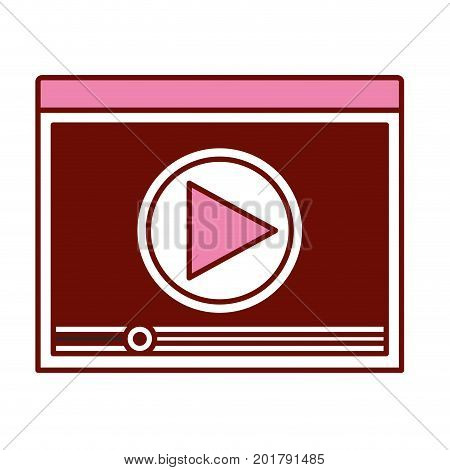 pink and scarlet red sections silhouette of window with start playback icon vector illustration