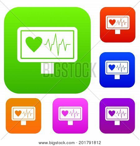 Heartbeat set icon in different colors isolated vector illustration. Premium collection