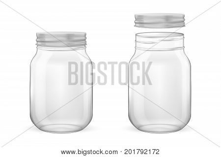Vector realistic empty glass jar for canning and preserving set with silvery lid - open and closed - closeup isolated on white background. Design template for advertise, branding, mockup. EPS10 illustration.