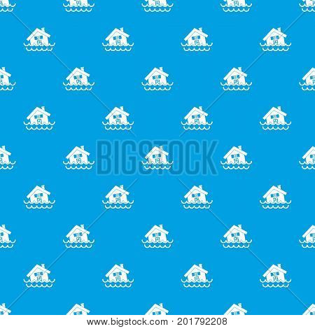 House sinking in a water pattern repeat seamless in blue color for any design. Vector geometric illustration