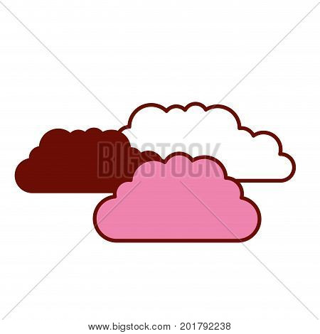 pink and scarlet red sections silhouette with set of clouds vector illustration